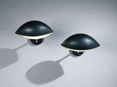 Original A pair of lacquered aluminium 'Oeil' Wall lights by Serge Mouille.