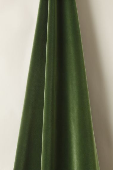 Luxury Cotton Velvet fabric in spruce for use on upholstery, curtains or soft furnishings by Rose Uniacke.
