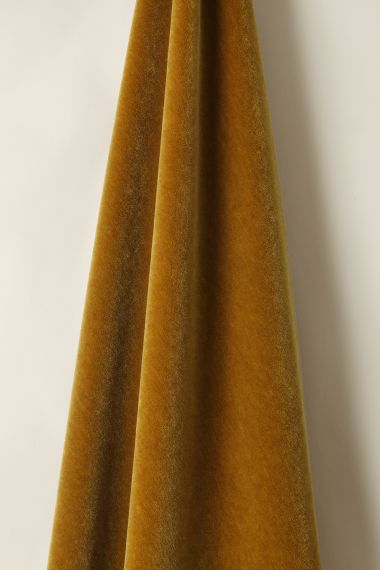 Designer Mohair Fabric Velvet in Gold by Rose Uniacke