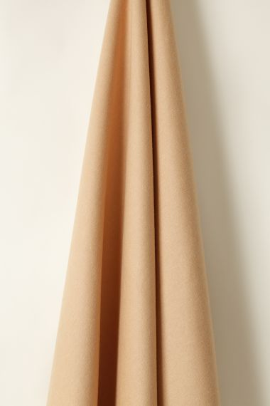 Designer Wool fabric in Herringbone Peach by Rose Uniacke