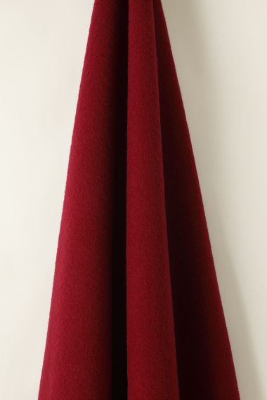 Designer Wool fabric in Bordeaux by Rose Uniacke
