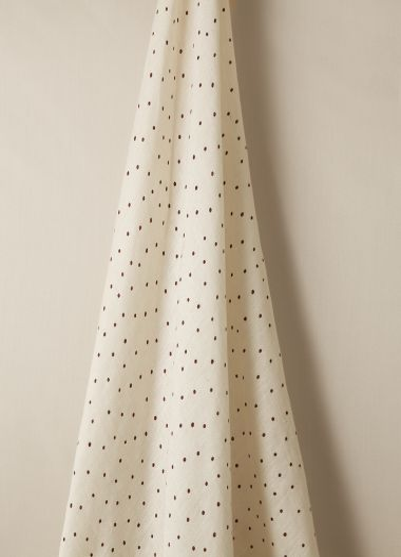 Luxury Sheer linen fabric in burgundy spot on chalk by Rose Uniacke.