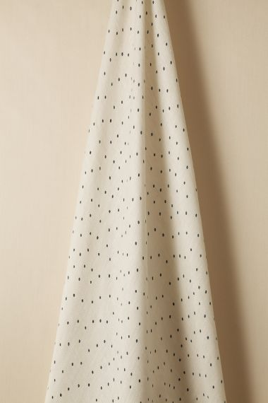 Teal spot sheer linen fabric