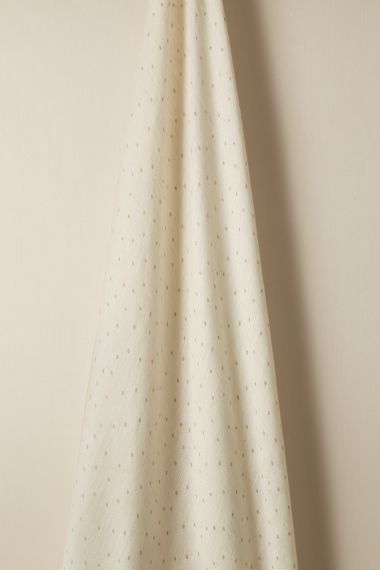 Sheer Linen fabric in Biscuit spot on Chalk by  designer Rose Uniacke