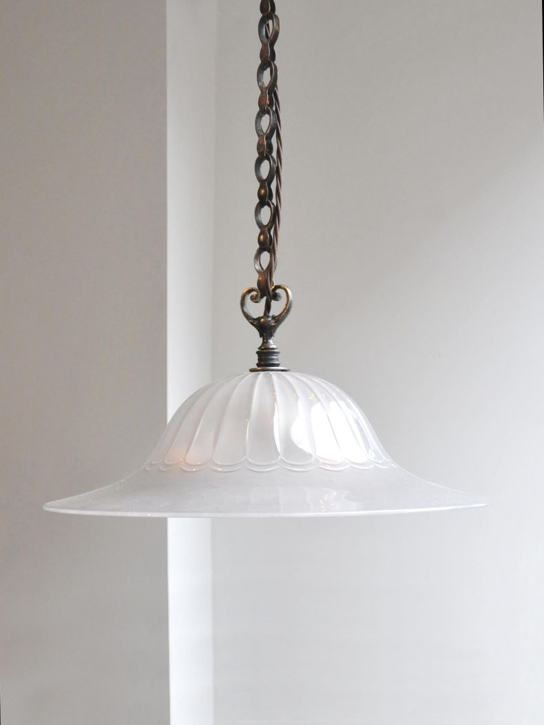 Lobed Glass 'Osler' Hanging Dish Light_0