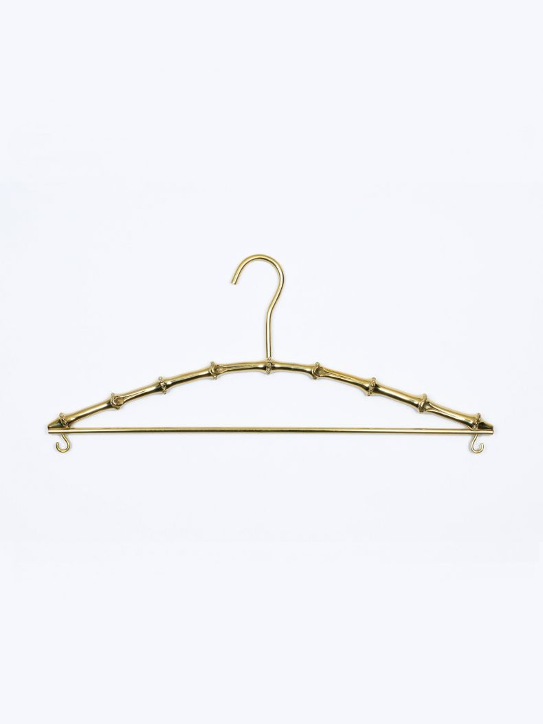 Bamboo Coat Hanger in Solid Brass_0