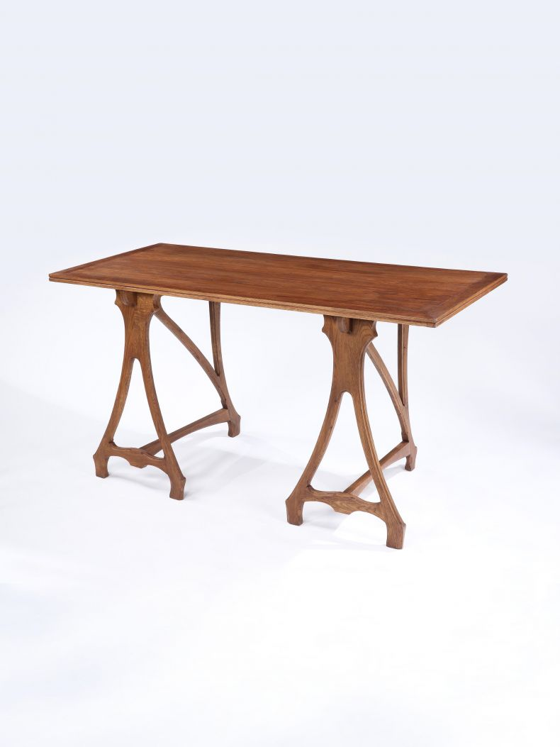 Unusual Solid Oak Trestle Table_0