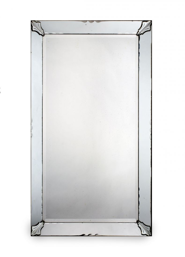 Large 1930's Glass Border Frame Mirror_0