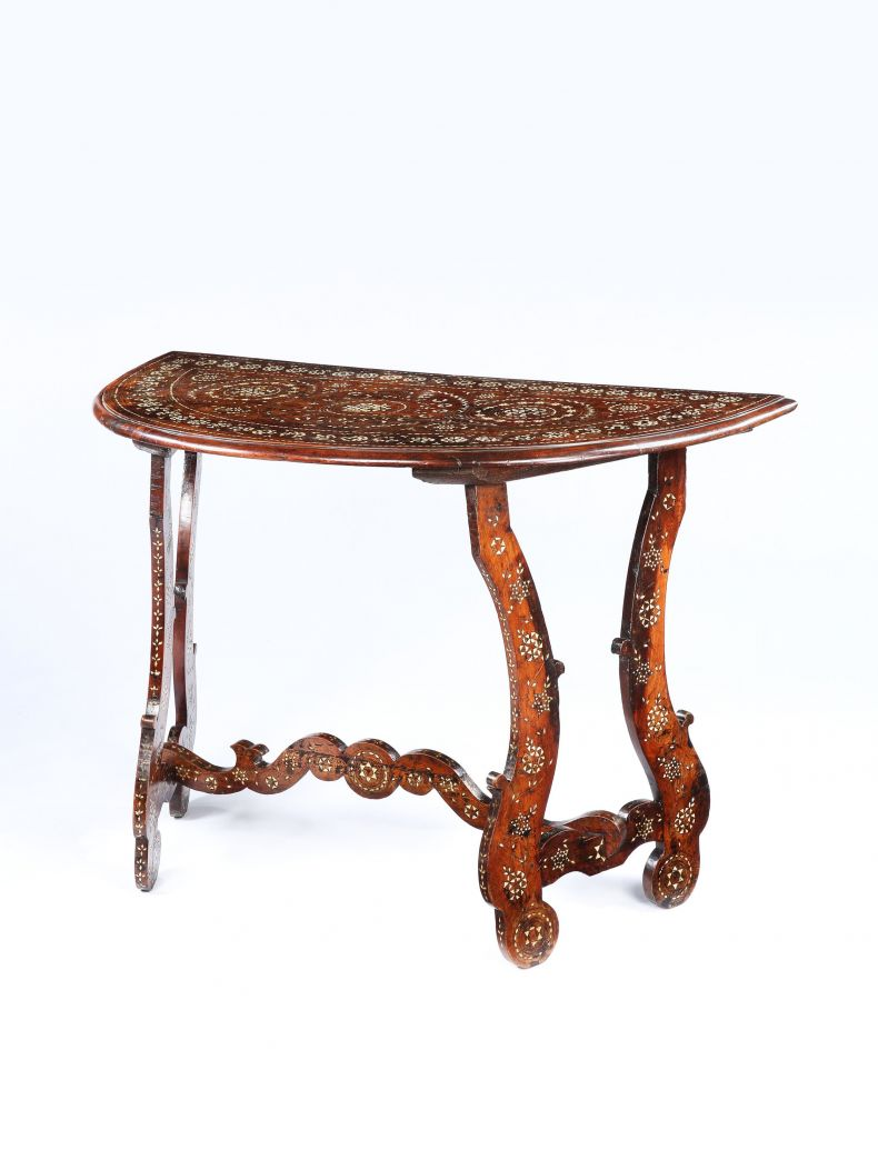 Early Baroque Inlaid Walnut Demi-Lune Console Table_0
