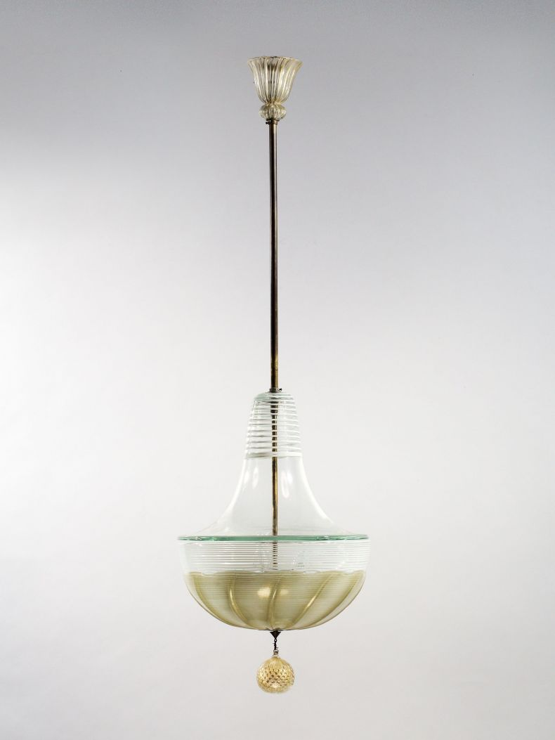 Gold Leaf & Glass Pendant Lantern by Barovier & Toso_0
