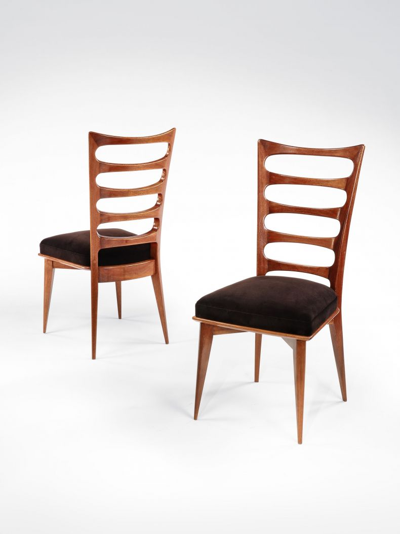 Set of Six Mahogany Ladderback Side Chairs_0
