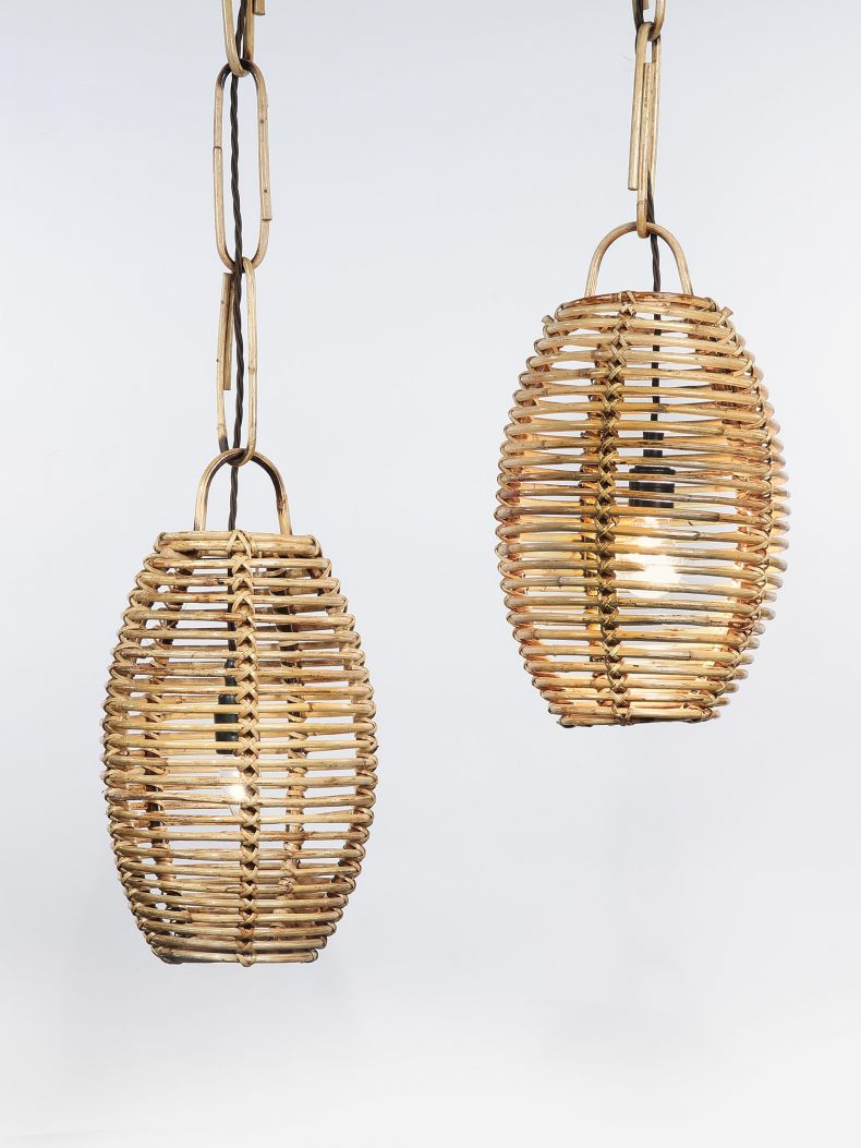 Set of Six French Wicker Hanging Lanterns_0