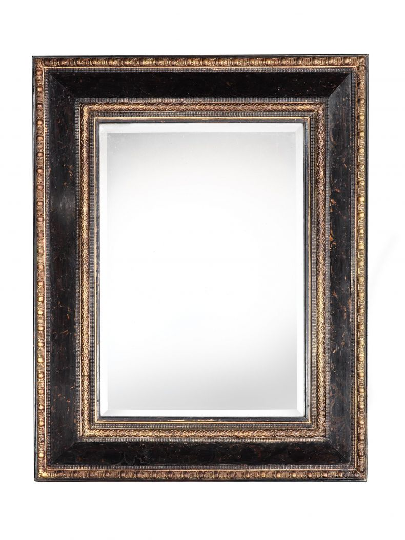 Large Italian Black Lacquered Mirror_0