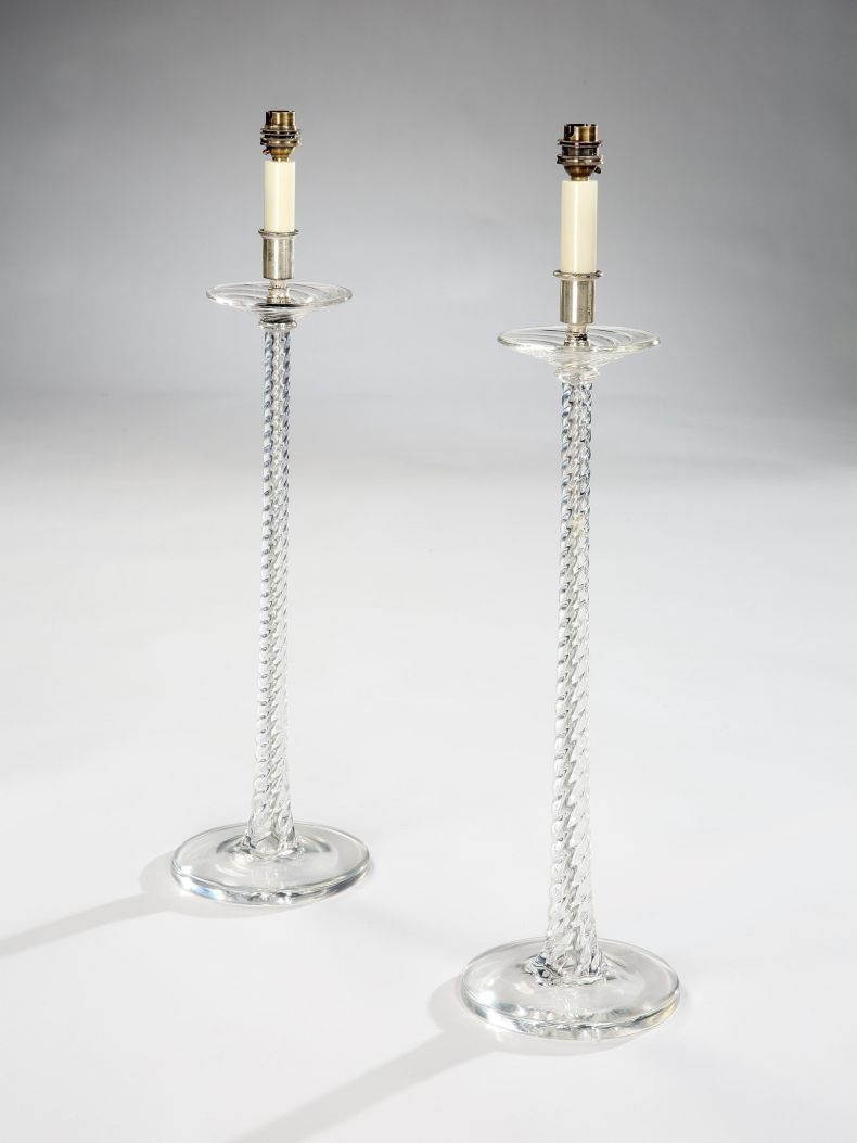 Pair of late 19th Century Spiral Twist Glass Lamps_0