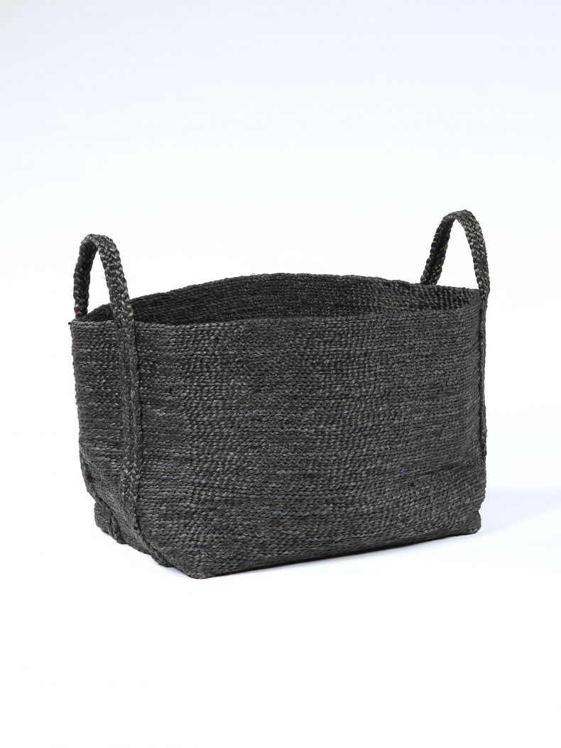 Large Square Basket in Black Jute_0