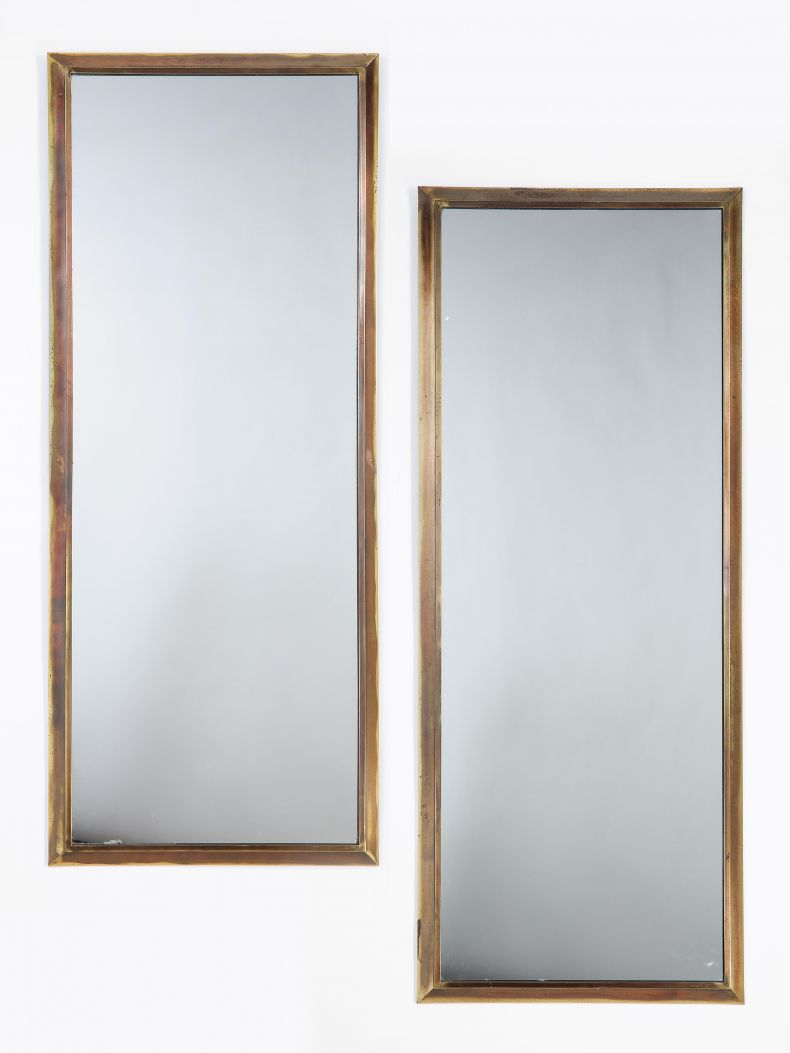 Pair of Mid-Century American Brass Framed Pier Mirrors_0