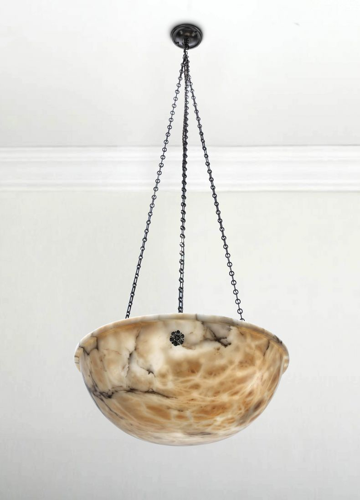 Art Deco Alabaster Ceiling Dish Light_0