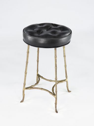 Small Faux bamboo Upholstered Stool by Maison Bagues_0