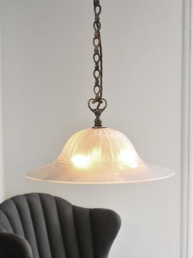 Lobed Glass 'Osler' Hanging Dish Light_1