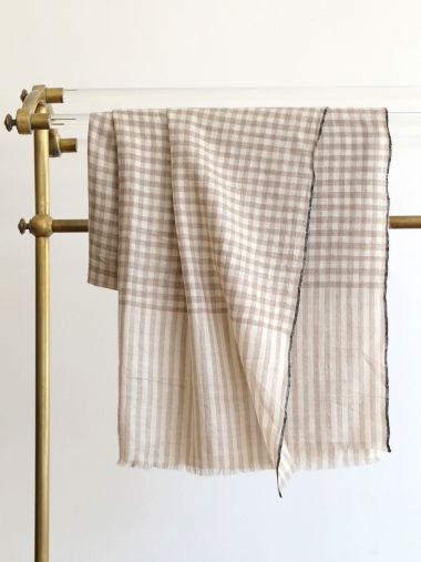 Beige and Cream Large Checks Pashmina with Black Border_0