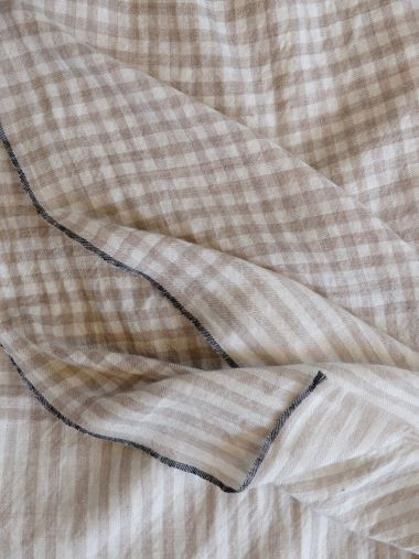 Beige and Cream Large Checks Pashmina with Black Border_1