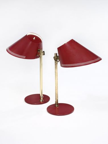 Pair of Red Metal Table Lamps by Paavo Tynell_0