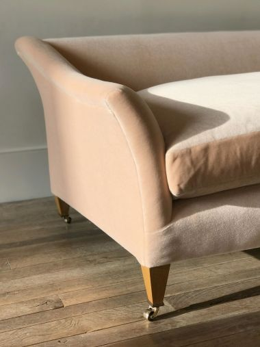 Mohair Velvet in Peach Melba by Rose Uniacke close up on sofa