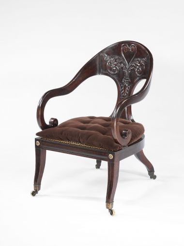 George IV Faux-Rosewood Greek-Revival Armchair_0