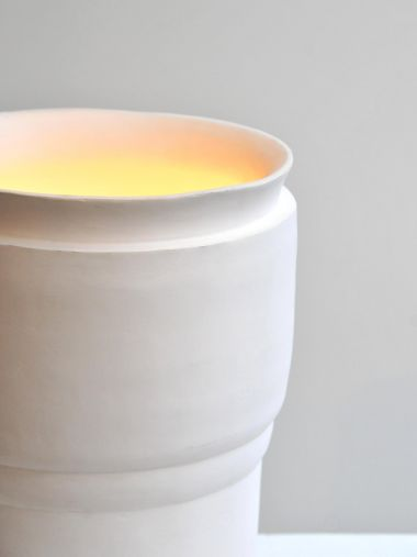 Large ceramic uplighters by Isabelle Sicart close up