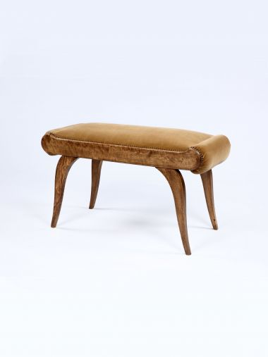 Cotton Velvet Fabric in Cobnut by Rose Uniacke on stool for upholstery
