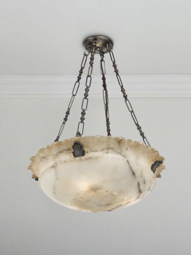 Early 20th Century Alabaster Dish Light_0