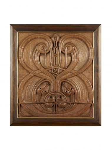 Art Nouveau Carved Oak Panel_0