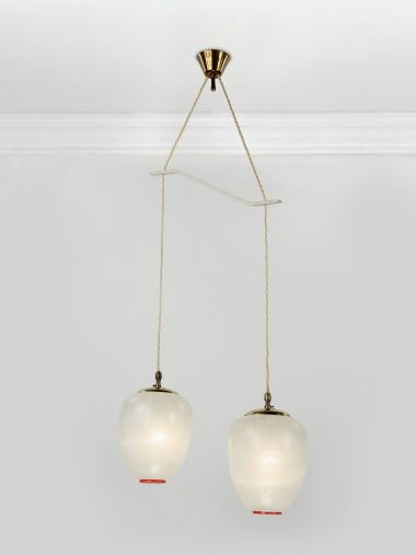 Pair of Small 1950's Globe Pendant Lights_0