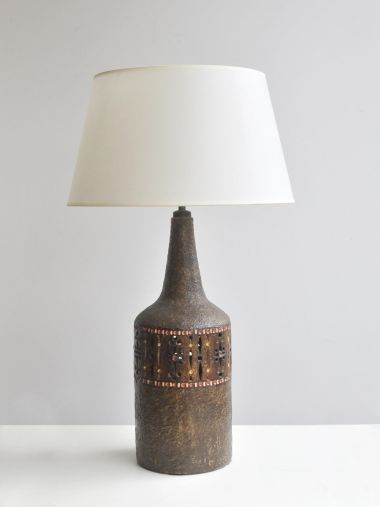 Brown Glazed Ceramic Lamp by Raphael Giarrusso_0