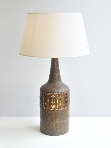 Brown Glazed Ceramic Lamp by Raphael Giarrusso_1
