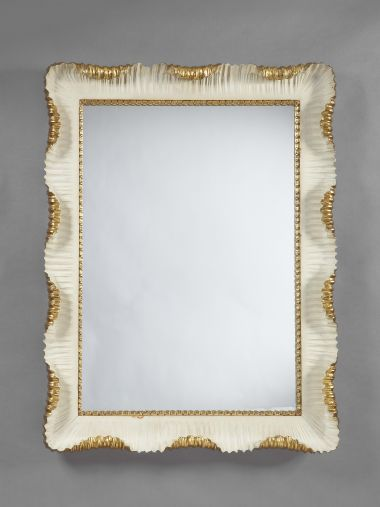 Carved Stone-White Painted & Gilded Mirror_0