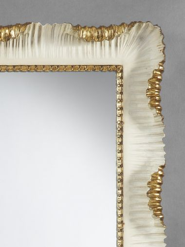 Carved Stone-White Painted & Gilded Mirror_1