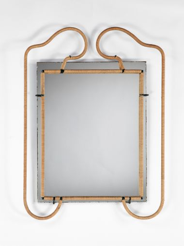 Metal and Rattan Mirror by Jacques Adnet_0
