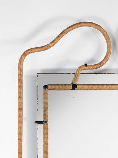 Metal and Rattan Mirror by Jacques Adnet_1
