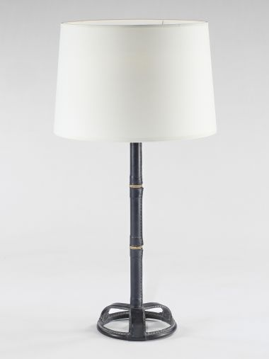 Black Leather Table Lamp by Adnet_0