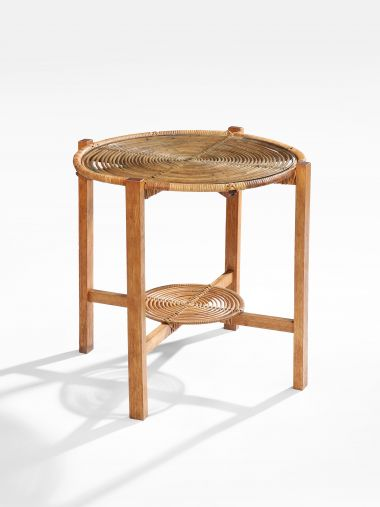 1950's Wicker & Oak Occasional Table_0