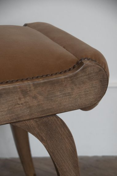 Cotton Velvet Fabric in Cobnut by Rose Uniacke on stool for upholstery  close up