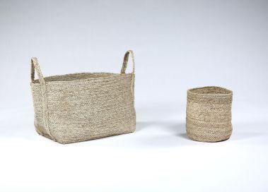Large Square Basket in Natural Jute_1