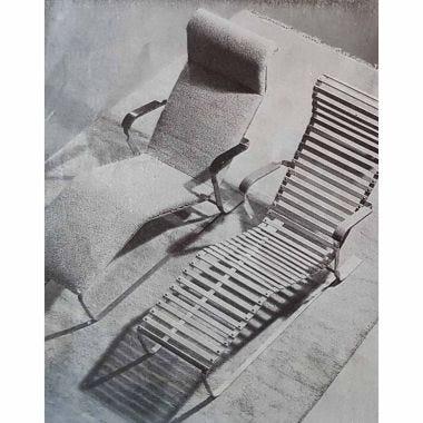 Rare Slatted Lounge Chair & Sling Base_2