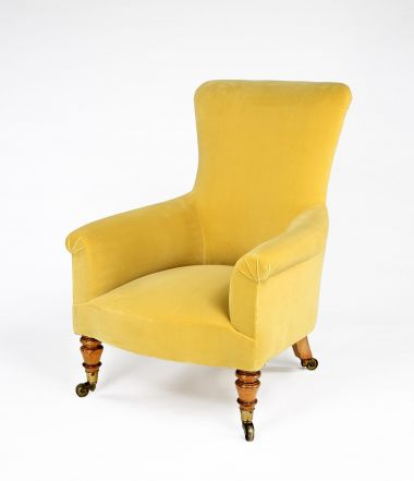 Cotton Velvet in Butternut by Rose Uniacke on armchair
