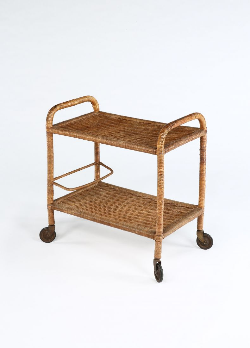 1950's Cane-Work Drinks Trolley_0
