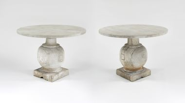 Pair of Bulbously Carved Limestone Baluster Tables_4