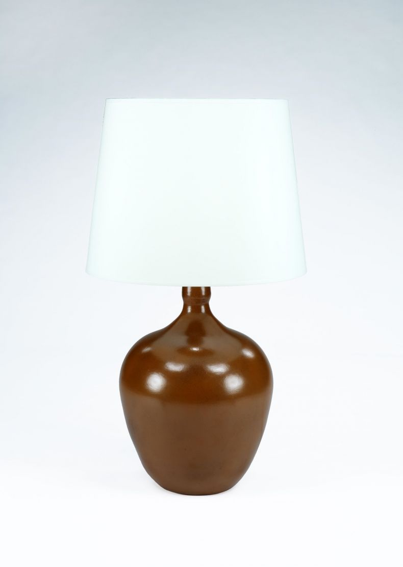 Large Mottled Brown Glazed Table Lamp