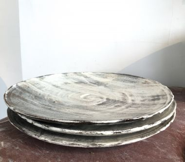 Stack of Japanese ceramic plates Handmade for Rose Uniacke by Akiko Hirai