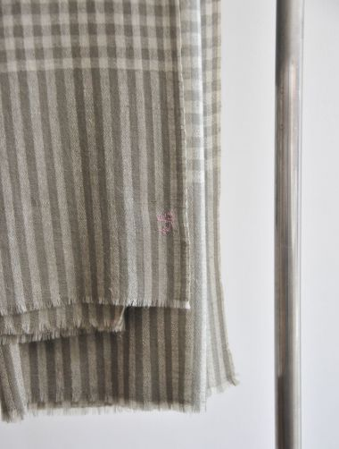 Designer Organic olive stripe and check cashmere pashmina with black borders by Rose Uniacke.